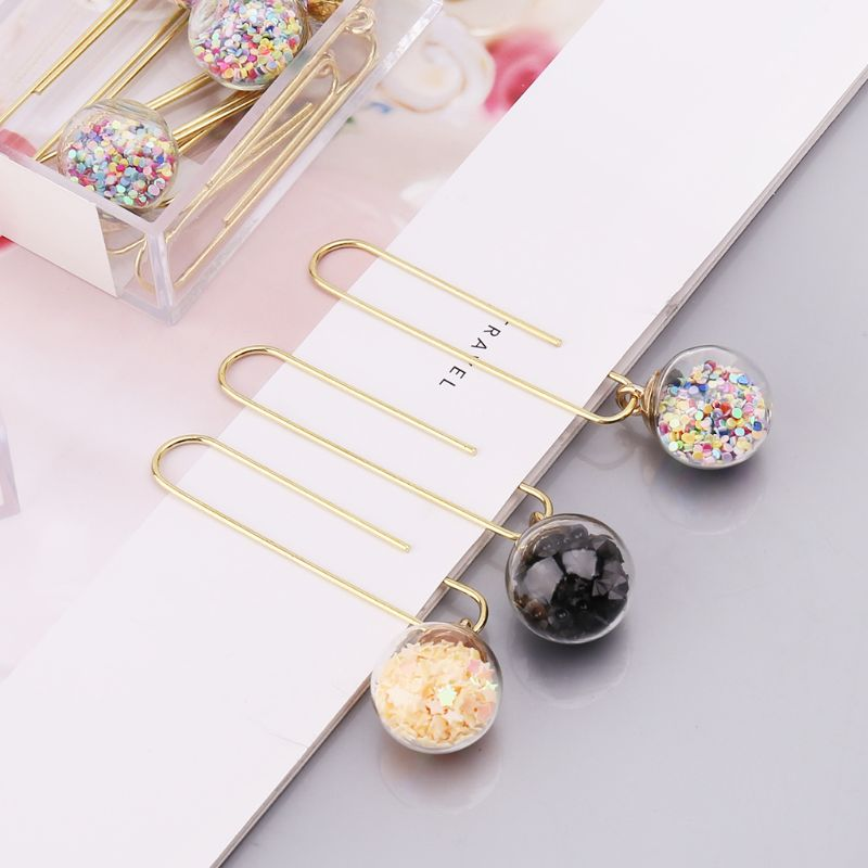 Rapture 5pcs/box Glass Ball Paper Clips Notes Marker Diy Metal Binding Memo Paper Clip Bookmark Novelty Office Binding Supplies