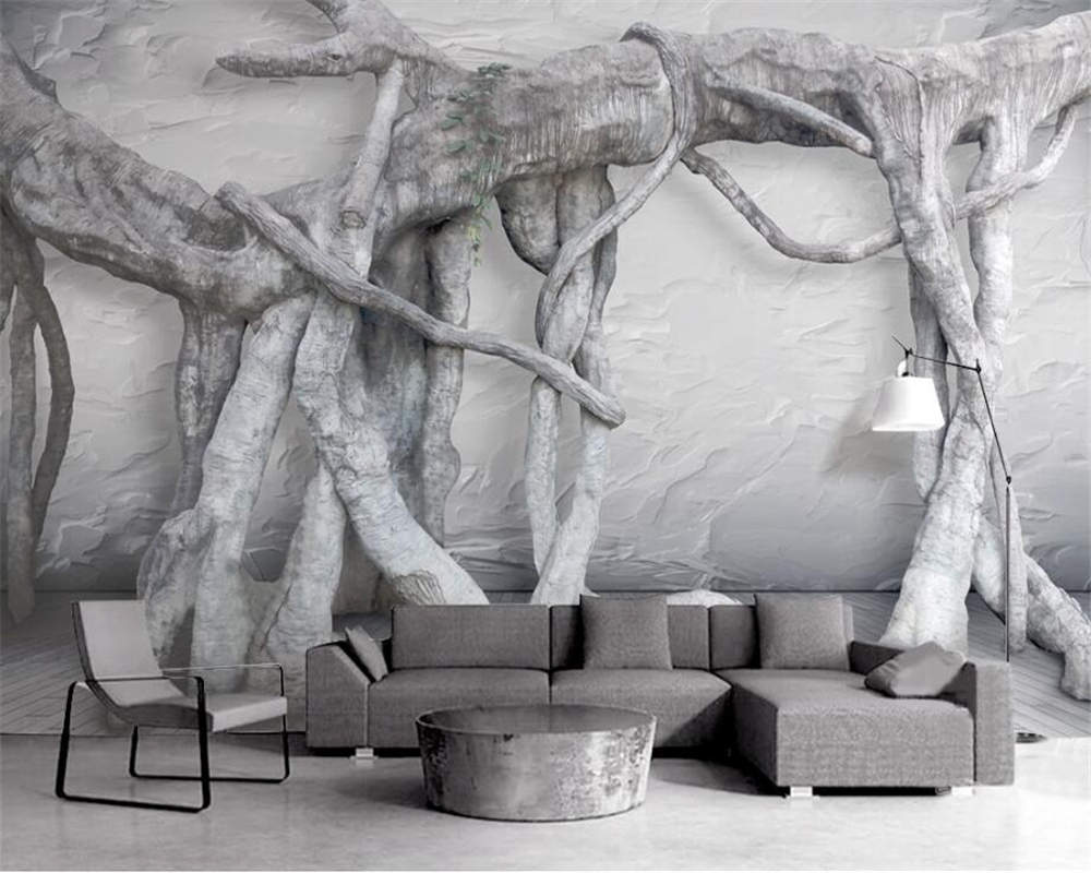 Beibehang Black and white 3d three - dimensional art tree root art virgin forest TV background murals wallpaper for walls 3 d face recognition using three dimensional and multimodal images