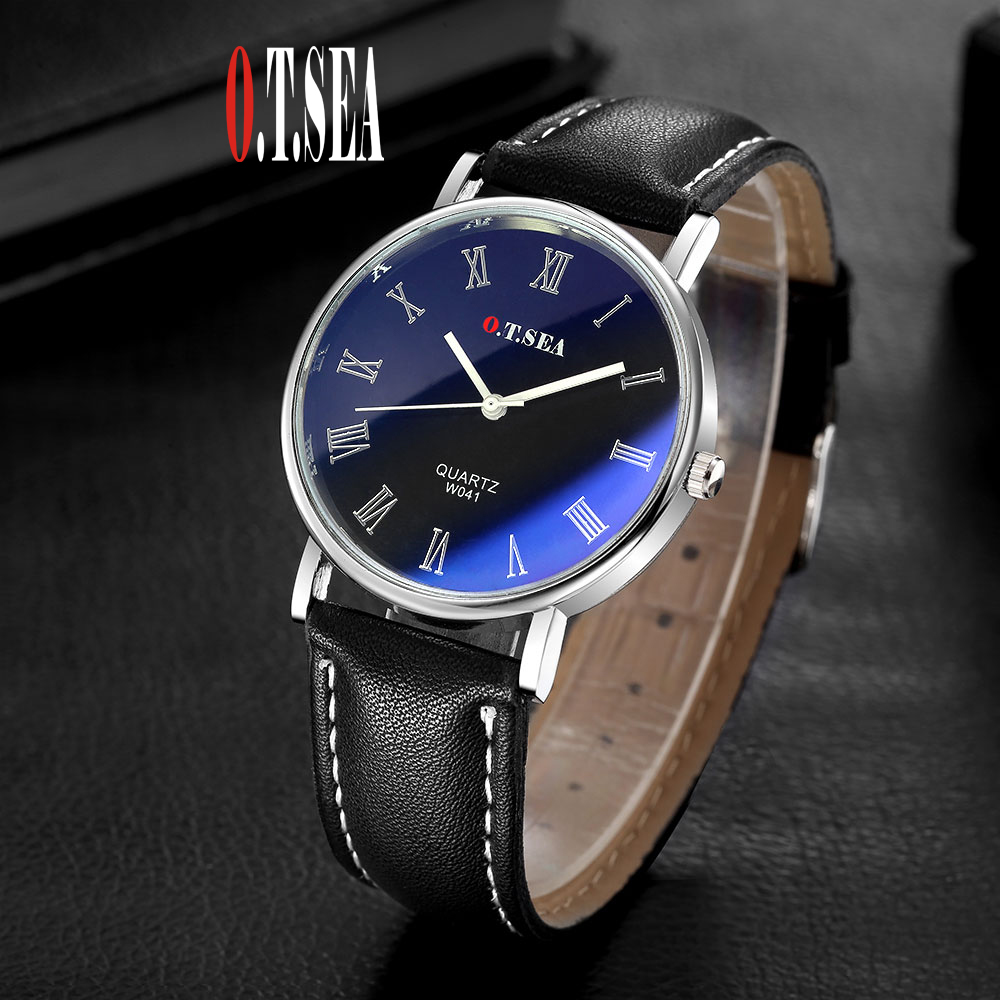 Luxury O.T.SEA Brand Fashion Faux Leather Blue Ray Glass Watch Men Sports Quartz Wrist Watches Relogio Masculino W041 luxury brand men watches 2016fashion faux leather men blue ray glass quartzwatches casual males business watch relogio masculino