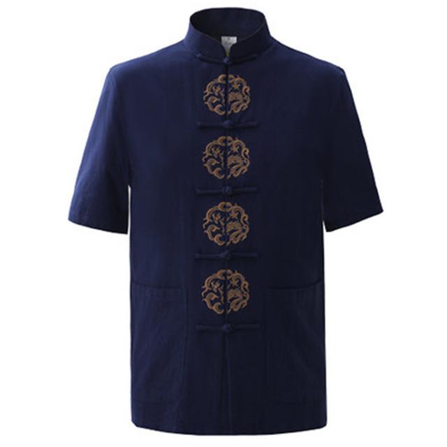 Marinha dos homens azuis de verão de algodão bordado camisa tops vintage chinês do dragão Kung Fu Camisa de Manga Curta Tang Terno Tamanho M-XXXL