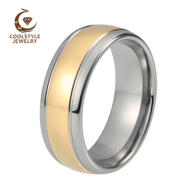 8mm Two Tone Tungsten Carbide Wedding Band Goldsilver Dome Men