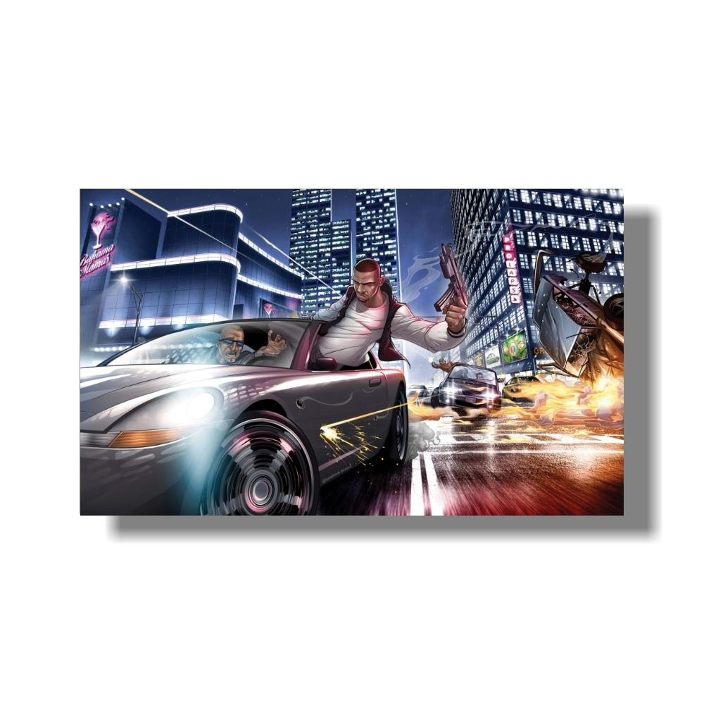 Grand Theft Auto V Art Silk Print Fabric Poster Game Hot GTA 5 - Տնային դեկոր - Լուսանկար 5