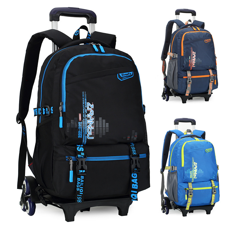 Color : G School Backpack 2019 Trolley Backpack Primary School Childrens Schoolbag Backpack Wheel Trolley Backpack