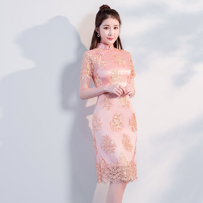 Nouveauté Sexy Mini cheong-sam 2019 été traditionnel chinois style robe femmes Qipao Slim robes de soirée bouton Vestido S-XXXL