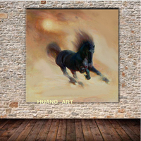 handmade canvas Running wild horse Modern Home Decoration Horse Racing paintingThe red The black Horse panel wall