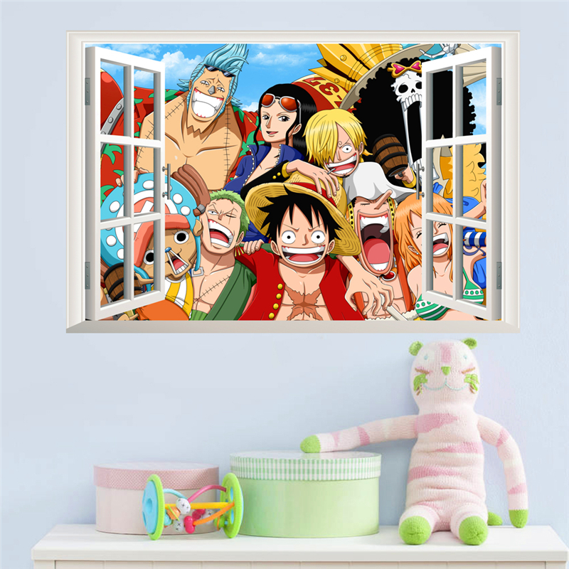3d window one piece Luffy wall stickers for kids rooms bedroom cartoon wall decals pvc diy posters boy's gift