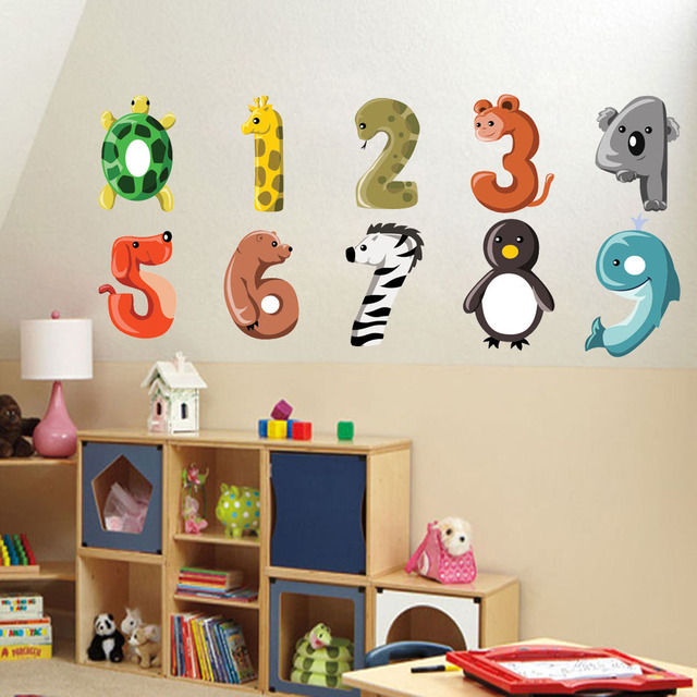 US $3.74 25% OFF|Cartoon Number Animals Dog Giraffe Zebra Wall Sticker  Removable PVC Cute Numbers Decal For Children\'s Bedroom Diy Home Decer-in  Wall ...