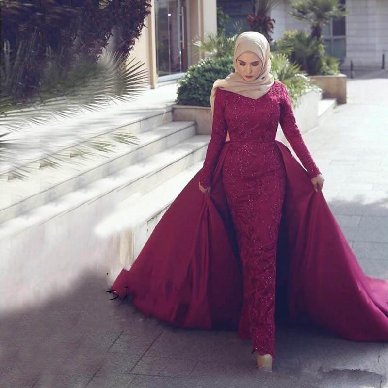 Detachable Muslim   Evening     Dresses   2019 Sheath Long Sleeves Lace Beaded Islamic Dubai Saudi Arabic Long Formal   Evening   Gown
