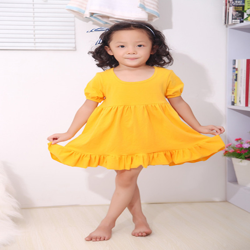 Summer Gilrs Dress Knit Cotton Puffy Sleeve Baby Girls 5T Outfit Mustard Clothes