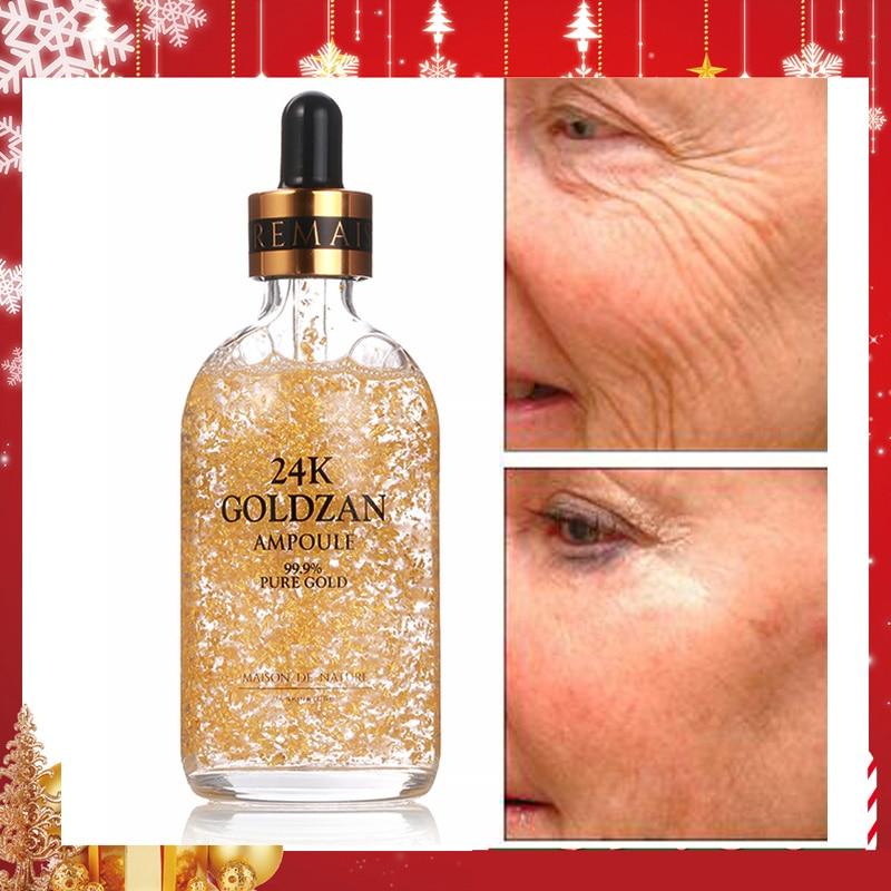 Korean Cosmetics 99% 24K Gold Foil Face Serum High Concentration Skin Essence Anti Aging Moisturizing Whitening Facial Cream