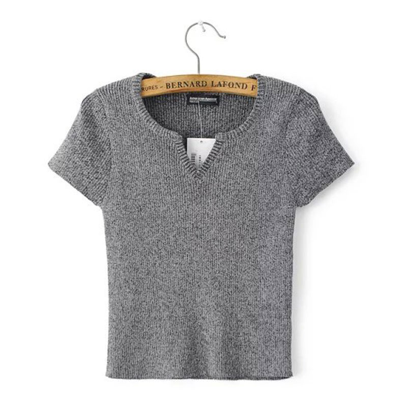 Casual Knit T Shirts For Women Crop Top 2017 Short Sleeve T Shirts