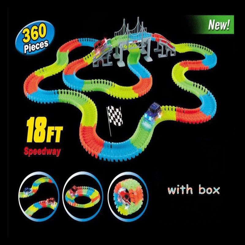 Magical track funny Glowing Race Track Glow in the dark racing car DIY track Accessories gifts Educational toys for children boy viciviya glowing race track set diy miracle racing car in dark glow track led car 44 100 165 220 240pcs rail car kids toys gifts