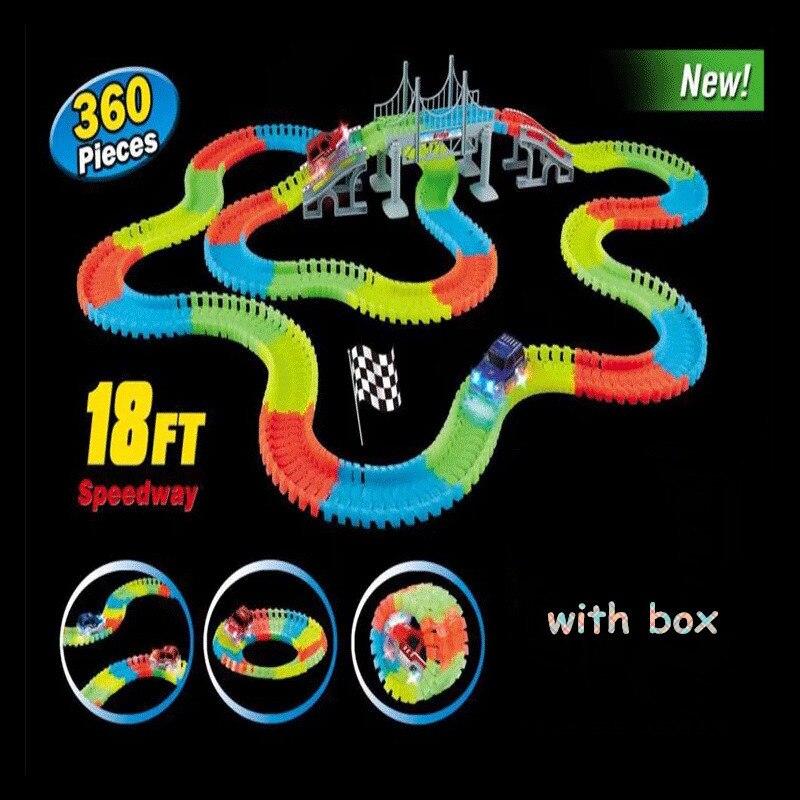 Piste magique drôle brillant piste de course lueur dans le noir voiture de course bricolage accessoires de piste cadeaux jouets éducatifs pour enfants garçon