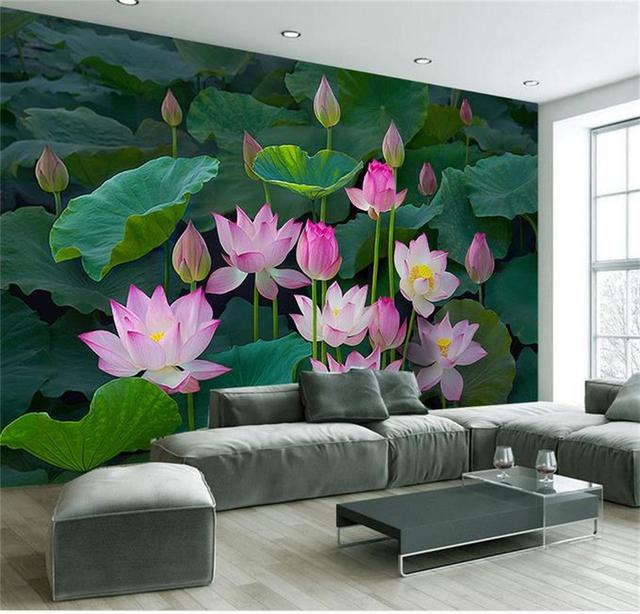 Benutzerdefinierte 3d fototapete wohnzimmer mural lotus blume see ...