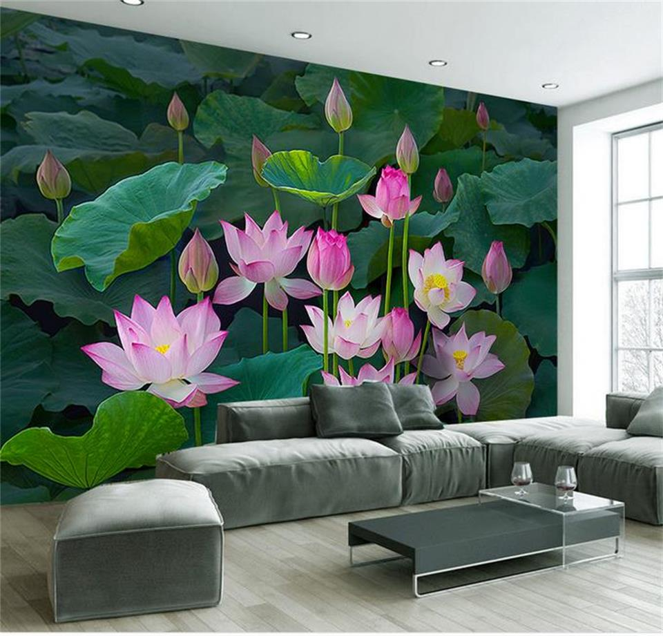 Custom 3d photo wallpaper living room mural lotus flower for Decorative mural painting