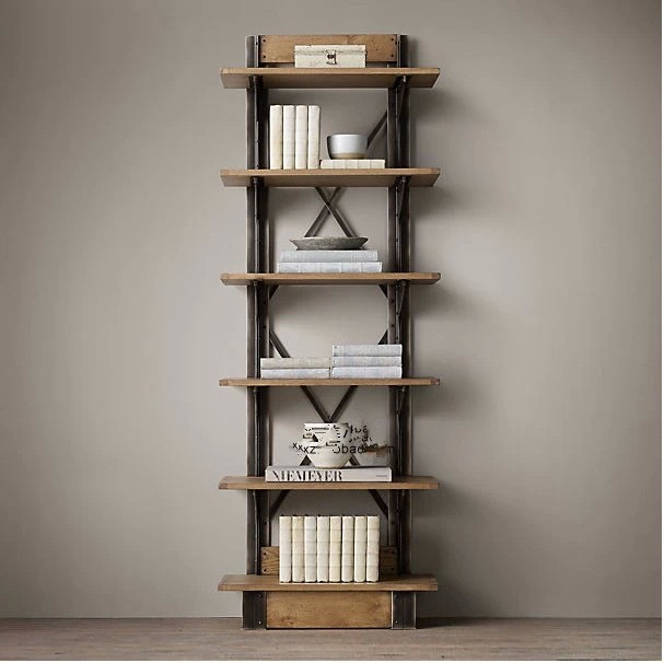 LOFT American Country Style Wrought Iron Shelf Vintage Wood Display Bookcase