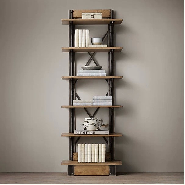 Loft American Country Style Wrought Iron Shelf Vintage Wood Display Bookcase China