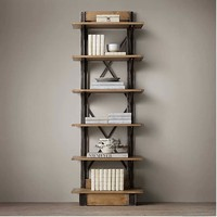 LOFT American Country Style Wrought Iron Shelf Vintage Wood Display Shelf Bookcase Shelf
