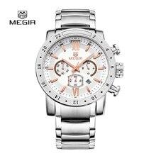 Relogio Masculino Мужчины Fahsion Кварцевые Часы Топ Luxury Brand MEGIR Полный Стальной браслет Хронограф Наручные Часы Часы Мужчин