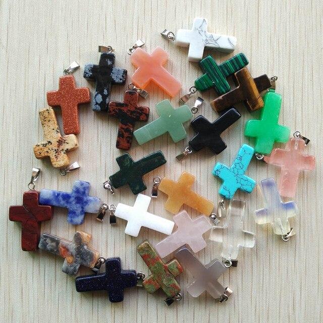 Atacado 50 pçs/lote pedra natural mista cor mista, encantos cruz colares fabricação de jóias