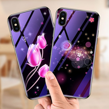 Glass Case For iPhone X Deer Tulip Flower Cover 8 7 6 6s Plus XR XS MAX Luxury Glitter Blue ray Star Space