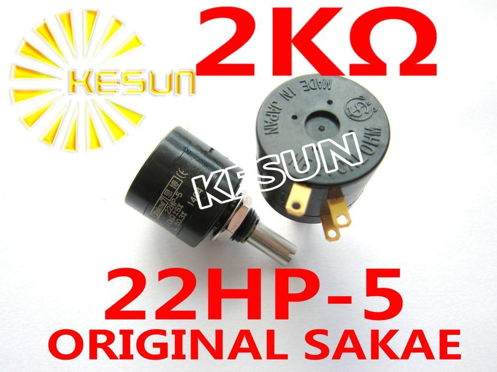 22HP-5 2K OHM Original 1W 5 Turn Wirewound Potentiometer Connector  x 2PCS original 73g 2 5