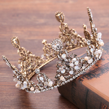 Vintage Wedding Hair Jewelry Copper Round Crystal Crown Tiara For Bride Hair Accessories Handmade Pearl Rhinestone Hairwear