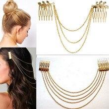 Hot 1Pc Fashion Metal Tassel Chain Headband Women Hair Accessories Clip Comb Bridal Leaf Headwear