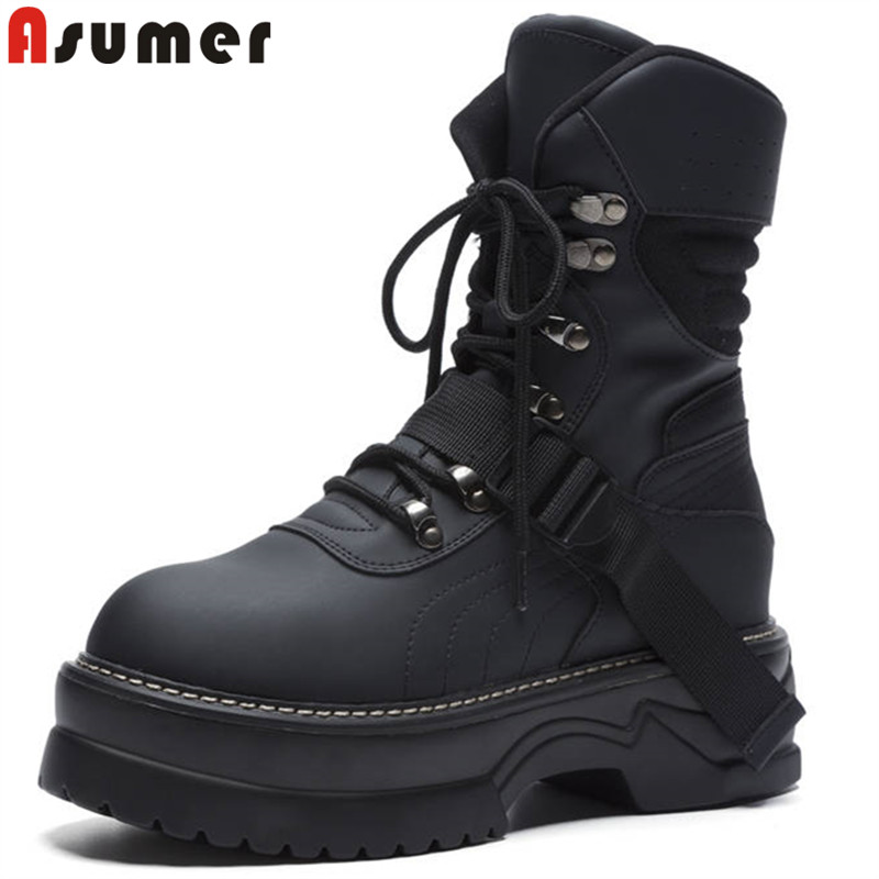 ASUMER black lace up fashion ankle boots for women round toe flat platform genuine leather boots cool ladies motorcycle boots garmin fenix 3 hr steel on black