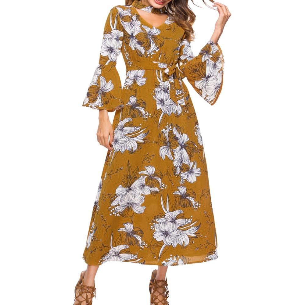 Feitong women Vintage dress 2018 Autumn Women Trumpet Sleeve Print Waist Elasticated Waist Polar Long Dress vestidos femininos