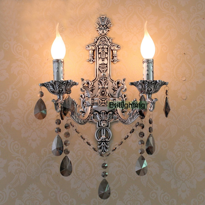 Antique Silver Wall Sconces Vintage Crystal Wall Lights Led Wall Lighting Brass Classic Wall Lamps Led