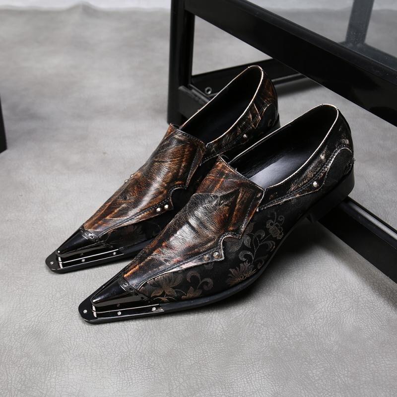 Haute qualité en cuir véritable bout pointu cheville formelle hommes chaussures vintage floral sans lacet de mariage hommes chaussures