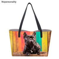 Nopersonality Famous Brand Designer Women Leather Bags with Lovely Dog Print Top handle Bags Female Shopping Tote Shoulder Bag