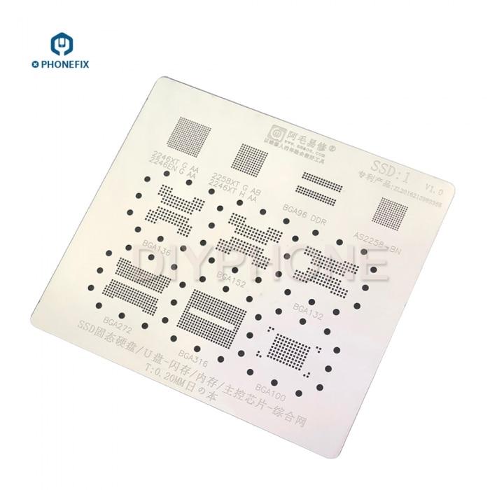 10 IN 1 Computer SSD DDR Memory BGA Reballing Stencil Template For BGA152 BGA132 BGA316 BGA272 BGA100 BGA152 2246XT 2246EN 2258X