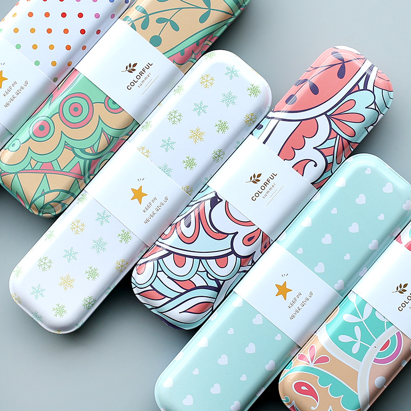 NOVERTY  Creative Tin Cartoon Cute School Pencil Cases Iron Tinplate Pen Bag Box Pouch Gift Office Stationery Supplies 04943