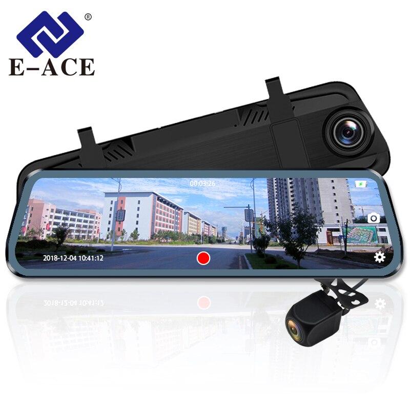 E-ACE dvr de voiture Dash Caméra 10 Pouces Streaming rétroviseur 1080 P enregistreur vidéo Auto Greffier Double Lentille avec Vue Arrière Caméra
