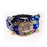 Precious Brocade Handmade Embroidered Headscarf Hand carved Miao Silver Tassel Decorative Button Brocade Hair band Headband