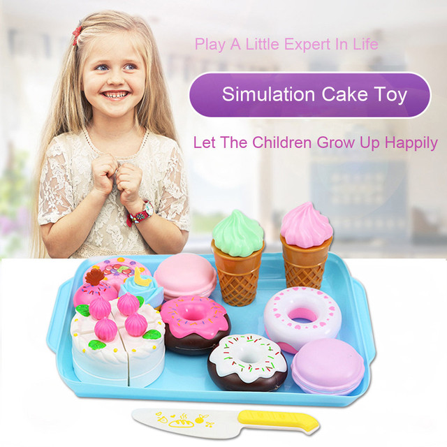 Pretend Play Plastic Dessert Cake Food Toy Pretend Play Food Ice Cream Birthday Cake Set Toy For Children Dropshipping T6#