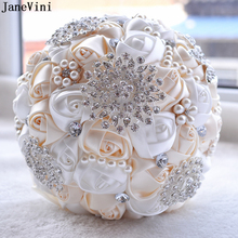 JaneVini 2019 Elegant Wedding Flower Bouquet with Crystal Pearls Artificial Satin Rose Bridal Holding Brooch Wedding Accessories