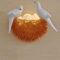 Nordic LED bird wall sconce Aluminum bird nest led wall lamp 6 colors art deco backlights creative glass eggs lamp