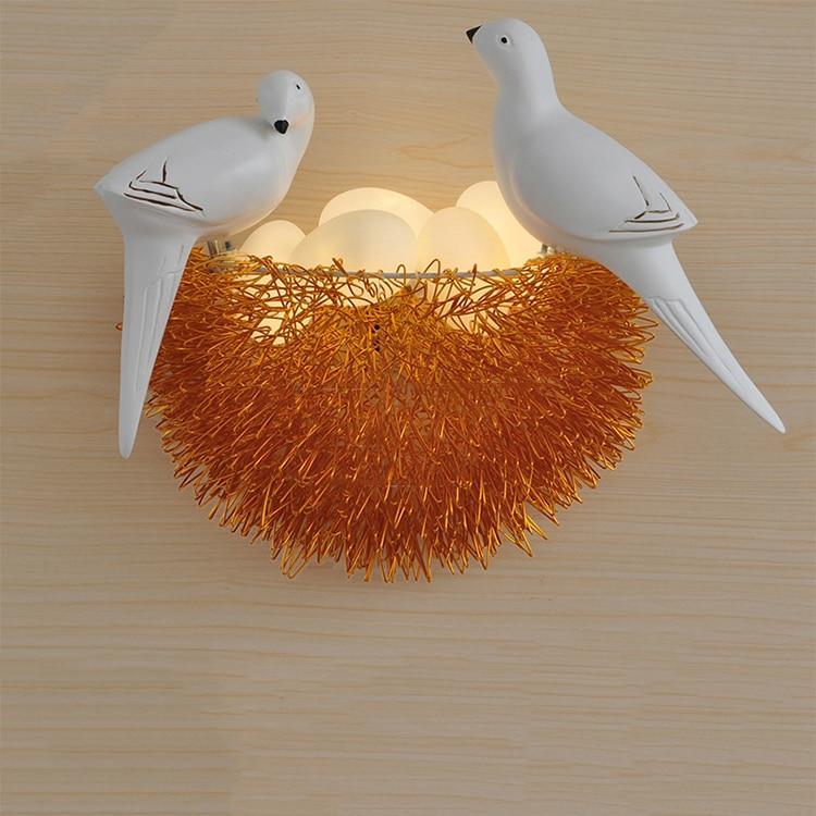 Nordique LED oiseau applique murale aluminium oiseau nid mur LED lampe 6 couleurs art déco rétro lumières créatif verre oeufs lampe