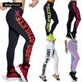 Nueva Llegada de Las Mujeres Push-Up Sexy Leggings Carta Moda Print Elástico Flaco Leggings de Fitness Ropa Deportiva para Mujeres SLgs910
