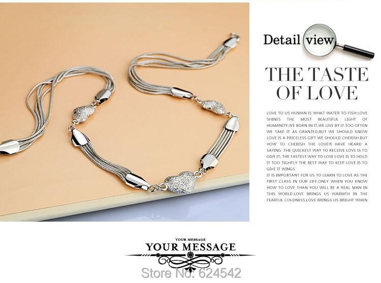 Ren silver Hjärthängen halsband för kvinnor; 925 sterling silver - Fina smycken - Foto 5