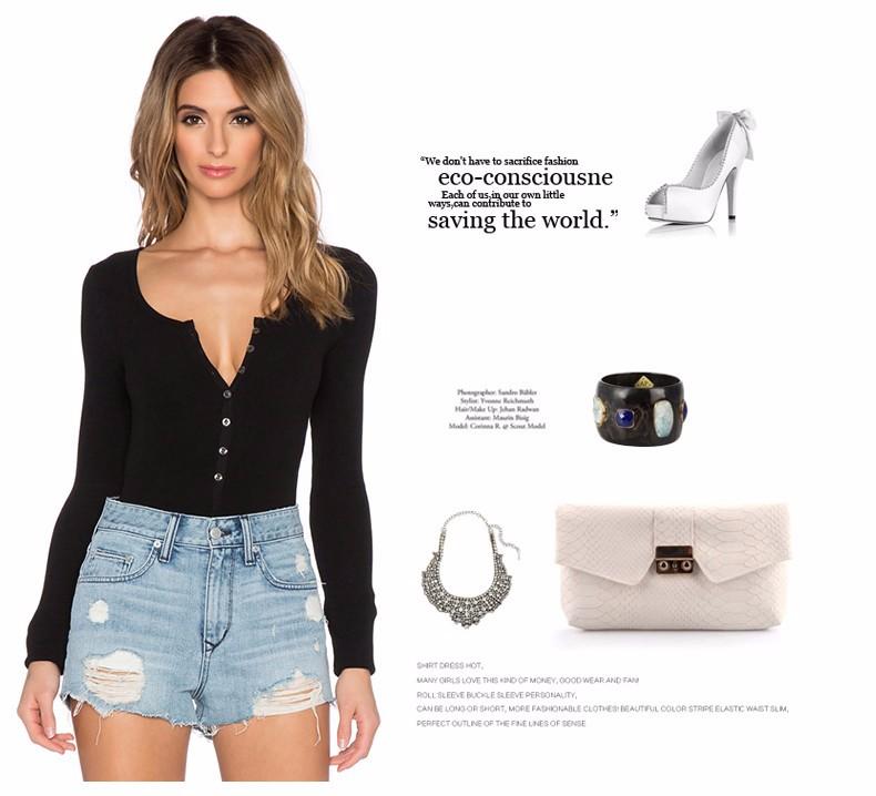 17 New Single Breasted Slim Body Suit Sexy Combinaison Femme Buttons Womens Jumpsuit Black Leotard Bodysuit For Women C166 6