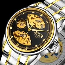 Мужские часы, автоматические механические золотые часы, мужские часы со скелетонным циферблатом, водонепроницаемые спортивные часы Bosck с ремешком из нержавеющей стали