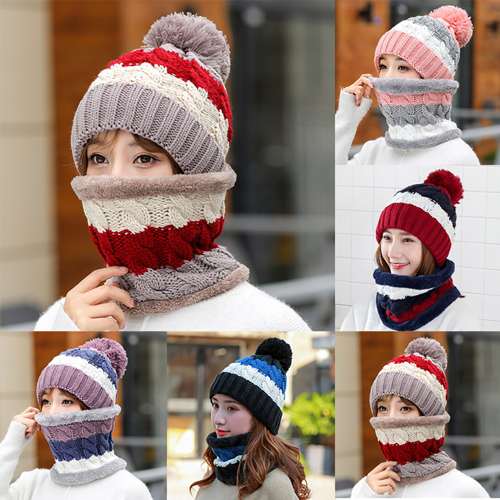 Womens Crochet Knitted Woolly Hat With Scarf Beanie Warm Fleece Ski Cap  winter hats for Mature person-in Skullies   Beanies from Apparel  Accessories on ... e6fc4751859