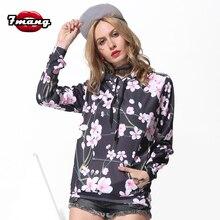 7mang 2017 autumn women fashion street flower printing harajuku sweatshirts loose black comfort hoodies