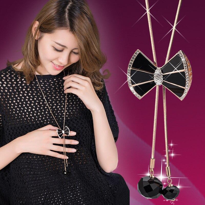 BYSPT Eegant Butterfly Long Beaded Chain Tassel Necklace Women Rhinestone Office Accessory Bohemia Costumes Jewelry