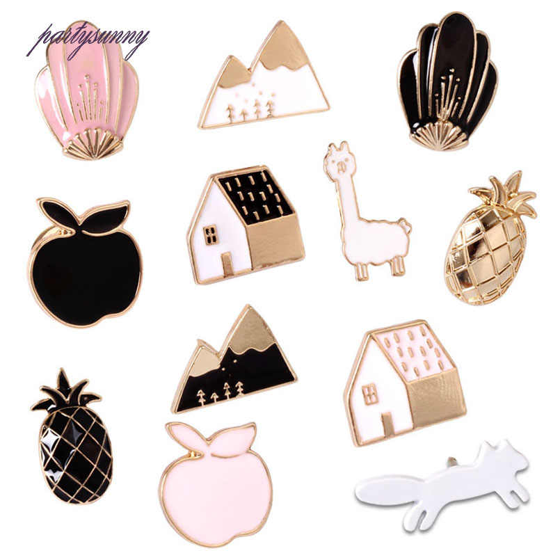 PY Enamel Cartoon Pineapple Apple Snow Mountain Pin Badges on Backpack Metal Button Brooch Kawaii Icons Anime Badge for Clothes