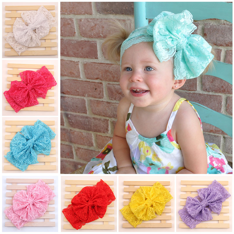 2016 New Fashion Girls Lace Big Bow Hair Band Head Wrap Band Accessories Lacos Elastic Free